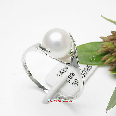 14k Solid White Gold; AAA 6.5-7mm Round White Cultured Pearl Solitaire Ring TPJ