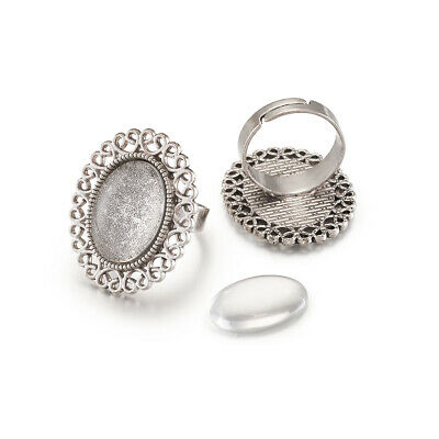 10SET 13x18mm Oval Transparent Glass Cabochon Tray Flower Finger Ring Components