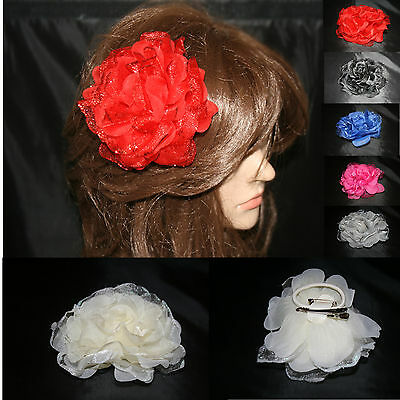 Ladies/ Girls Rose Flower Hair Bridal Wedding Party Clip/ Brooch/ Fanscinator 04