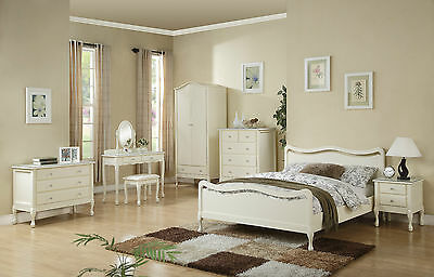 Ivory Wooden Bedroom Furniture Collection Wardrobes Draws Dressers Bedside table