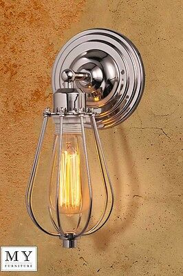 Marius - Chrome Industrial Wall Light Sconce Wall Lamp Edison bulb included