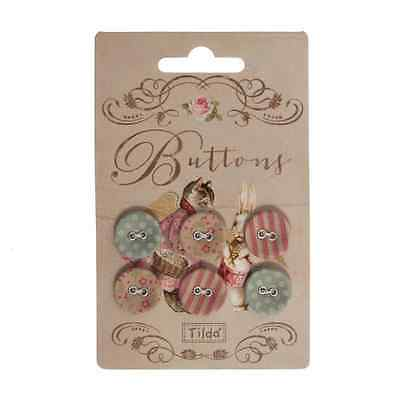Tilda Fabric Covered Buttons Tiny Treasures 6 Pieces