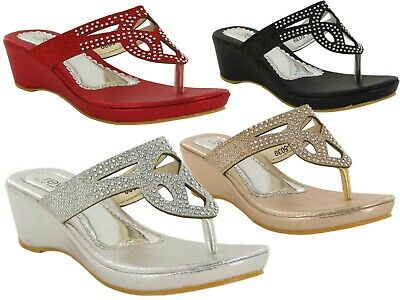 Kids Girls Brand New Toe Post Wedge Slip On Party Summer Shoes Sandals