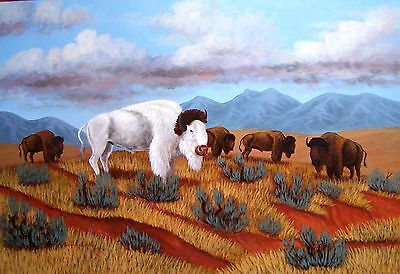Navajo canvas painting WHITE BUFFALO 20x24 by world renowned Jimmy Yellowhair