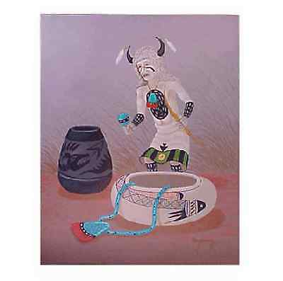 Navajo canvas painting WHITE BUFFALO KACHINA 30x24 by renowned Jimmy Yellowhair