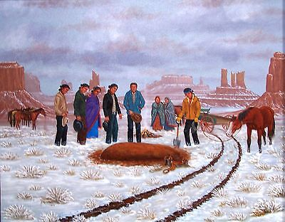Navajo canvas painting HE FELL OFF THE WAGON 28x22 by renowned Jimmy Yellowhair