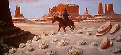 Navajo canvas painting FIRST SNOW ON THE REZ 28x22 by renowned Jimmy Yellowhair