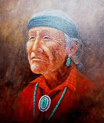Navajo canvas painting GRANDFATHER'S WISDOM 28x22 by renowned Jimmy Yellowhair