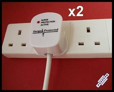 2 x Surge Protected 13A PLUG Top UK Mains 3-Pin Anti Spike, White, BS 1363