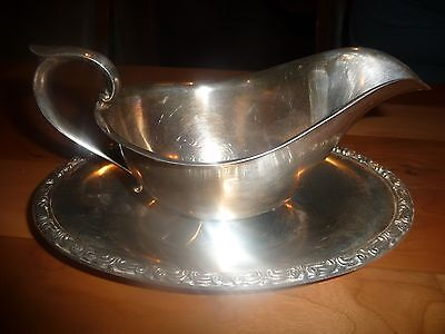 antique silver plate gravy bowl