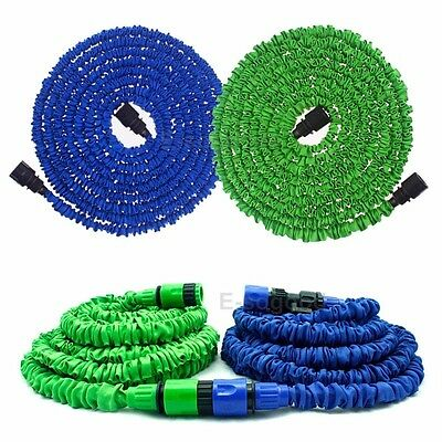 Latex 25 50 75 100 FT Expanding Flexible Garden Water Hose Green & Blue