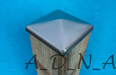 """80mm X 80mm (3.1"""") UNTREATED SQUARE METAL POST FENCE CAP TOP  & Flange 10mm"""