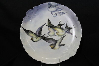 "Stunning RARE 14"" Haviland France Decorative Charger w/Finch Birds, Hand Painted"
