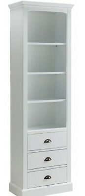 Alba Off White Painted Wooden Furniture 3 Shelves 3 Storage Drawers Bookcase