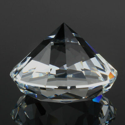 "60mm/2.36"" Round Sapphire Glass Crystal Diamond Shaped Paperweight Clear"