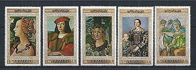 NORTH YEMEN 1970 MiNr: 592 - 596 ** PAINTING KUNST RAPHAEL BOTTICELLI ANGELO