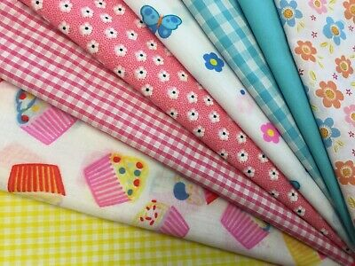 Fat Quarters Bundle Heart Flowers & Cupcakes Butterfly Fabric Gingham Bunting A9