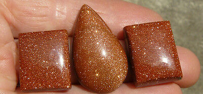 Goldstone Cabochon Three Stones  two rectangle one teardrop 86 cts