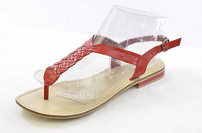 Lara & Lillian Women's Casual Leather Braided Thong Flat T-Strap Sandal Red 9