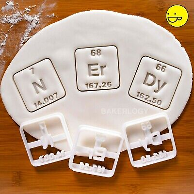 NErDy periodic table elements cookie cutters | biscuit geeky chemistry science
