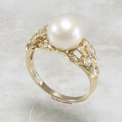 14k Solid Yellow Gold AAA  White Cultured Pearl & Diamonds Solitaire Ring TPJ
