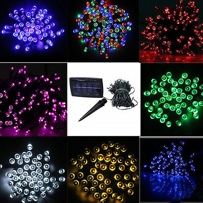60/100 LED Solar String Lights Garden Outdoor Xmas Party Fairy Tube Multi-color