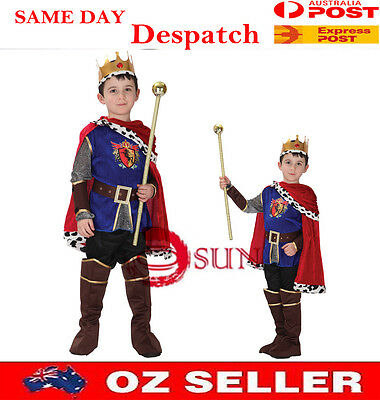 Kids Boys Fancy Dress Up Roman King Honorable Prince Outfit Halloween Costume