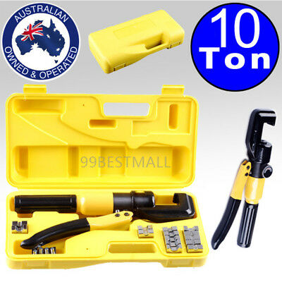 4mm-70mm 10Ton Force Hydraulic Crimper Cable Wire Crimping Tool Kit 9 Die LATEST
