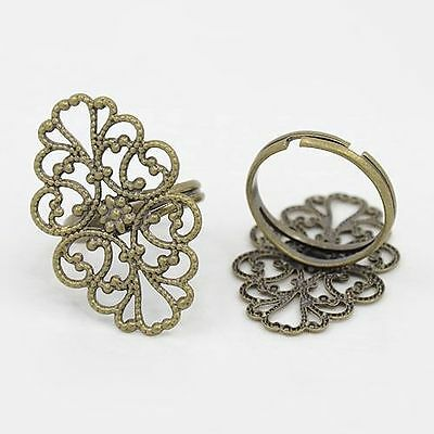 5pcs Brass Ring Components Adjustable Filigree Finger Ring Blank Antique Bronze