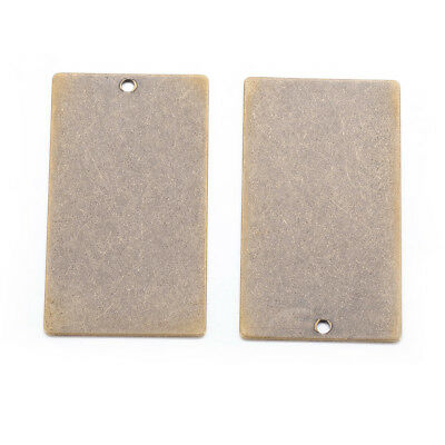 5pcs Metal Tags Brass Blank Stamping Tag Pendants Rectangle Antique Bronze 32mm