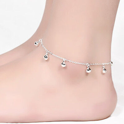 Fashion Women Bells Charms Bead 925 Sterling Silver Chain Anklet Ankle Bracelet