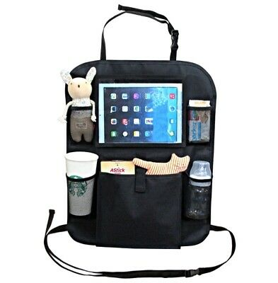Car back seat organiser with iPad holder + multi-pocket travel storage for baby
