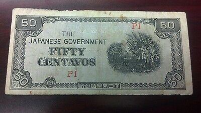 WWII era 50 centavos Japanese Govt issue circulated