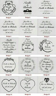 Transparent Colour or Gold Personalised Wedding Bomboniere Round Envelope Labels