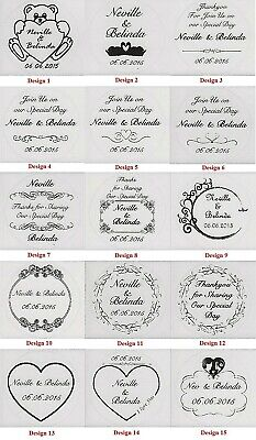 Transparent or Gold Personalised Wedding Bomboniere Round Envelope Labels