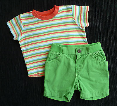 Baby clothes BOY 3-6m outfit striped George T-shirt/H&M green shorts SEE SHOP!