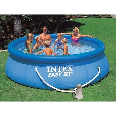 "Intex 10ft x 30"" Easy Set Round Swimming Pool with Pump and Filter"