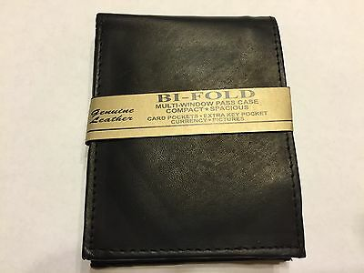 Mens Black Bifold Hand Crafted Genuine Cowhide Leather Wallet