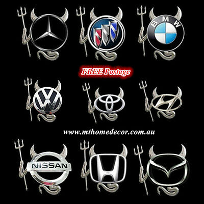 3D Silver Evil Devil Pattern Sticker Decal Car Auto Emblem Logo Decoration