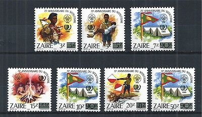 CONGO ZAIRE 1985 MiNr: 915 - 921 ** OVERPRINT INT. YOUTH YEAR SCOUTS SCOUTISME