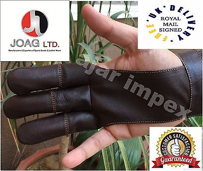 Archers Leather Shooting 3 Fingers Glove Chocolate Brown-
