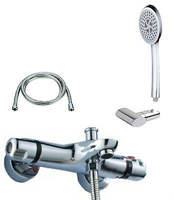 New Chrome Wall Mounted Thermostatic Bath Shower Mixer Tap