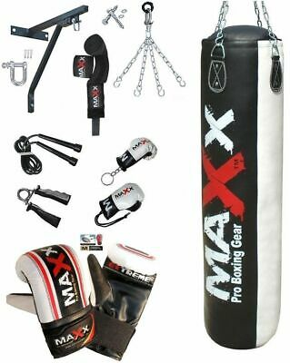 NEW 5FT Heavy filled Boxing Punch Bag SET BRACKET INNER WRAPS GLOVE PAD MMA UFC