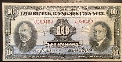 Reproduction Copy 1934 $10 Bill Imperial Bank Toronto Chartered Bank Note