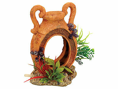 Pot with Airstone & Plants Aquarium Ornament Fish Tank Decoration