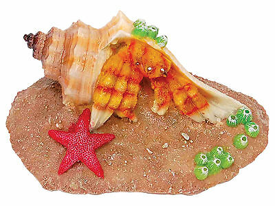 Crab on Rock Aquarium Ornament Fish Tank Decoration