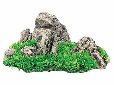 Aquarium Rock with Grass Aquarium Ornament Fish Tank Decoration