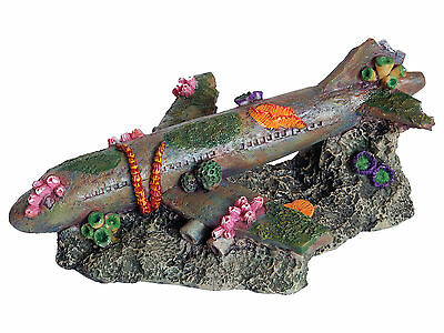 Sunken Airliner Aquarium Ornament Fish Tank Decoration
