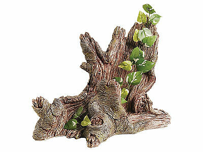 Trunk with Silk Plant Reptile Terrarium Vivarium Ornament Decoration