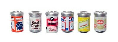 """6 PIECE SET OF BEER CANS 1/2"""" Dollhouse Miniature or FAIRY GARDEN 1:12 SCALE NIP"""
